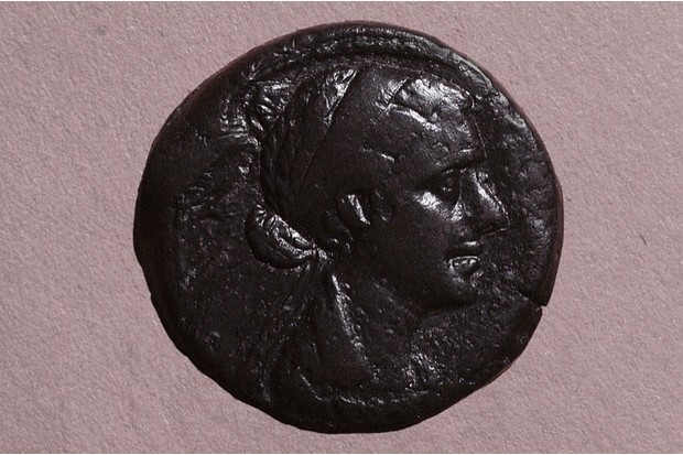 A coin with the head of Cleopatra, Egypt. Ancient Egyptian. Graeco Roman period c 51 30 BC. (Photo by Werner Forman/Universal Images Group/Getty Images)