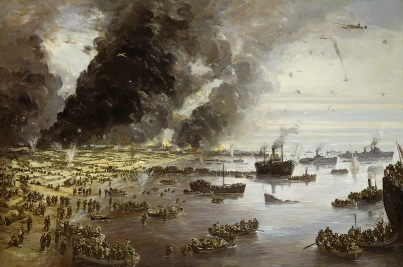 Charles Cundall's painting 'The Withdrawal From Dunkirk, June 1940'. (Photo by IWM via Getty Images)