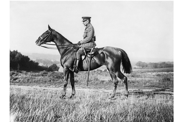 A formal portrait of Sir Douglas Haig on horseback at Poperinghe, 12 September 1917. Ministry of Information First World War Official Collection. (Photo by Lt E Brooks/IWM via Getty Images)