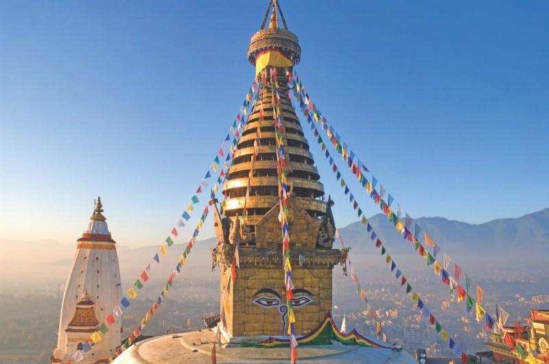 Nepal, Kathmandu Valley listed as World Heritage by UNESCO, Kathmandu, Swoyambhunath Stupa, Buddhist place of worship