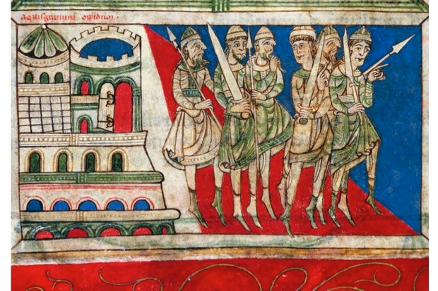 Charlemagne's army miniature from medieval manuscript.