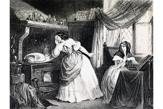 FRANCE - CIRCA 2003: Affair of the Poisons, the laboratory of Catherine Deshayes, known as La Voisin (Paris, 1640-1680), engraving, 19th century. France. Paris, Hôtel Carnavalet (Art Museum), Cabinet Des Arts Graphiques (Drawings Museum) (Photo by DeAgostini/Getty Images)