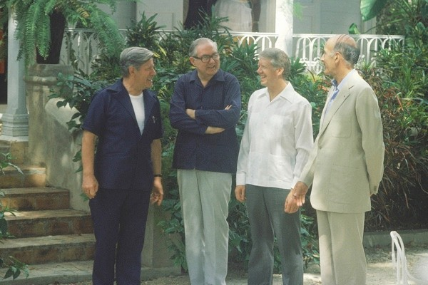 """Dubbed """"the swimming pool summit"""", the 1979 Guadeloupe meeting saw the four leaders – left to right: Helmut Schmidt, James Callaghan, Jimmy Carter and Valéry Giscard d'Estaing – go snorkelling and sailing. But discussions were """"incredibly intense"""". (Getty)"""