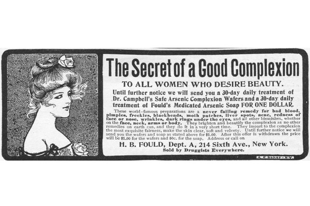 Advertisement for Fould's arsenic complexion wafers by H. B. Fould in New York, 1901.
