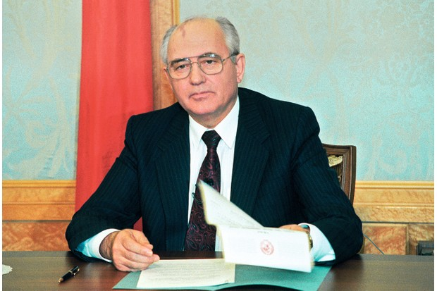 Mikhail Gorbachev, pictured on the day of 