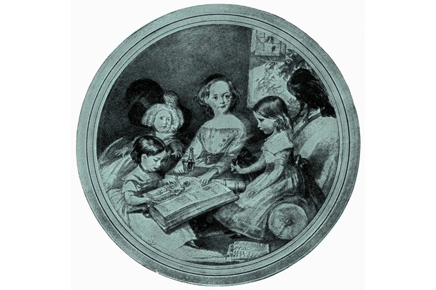 A 1841 drawing depicting four of Charles Dickens' children - Charlie, Mamie, Katie, and Wally - with Grip the raven. (Photo by Culture Club/Getty Images)