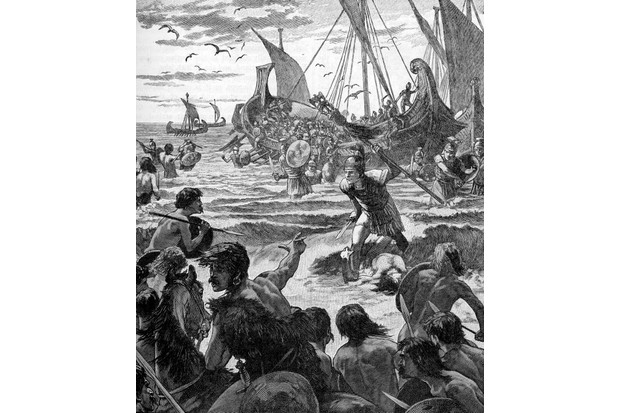 Roman invasion of Britain - early 20th century illustration.  Landing on the coast of Kent.  Invasion commanded by Julius Caesar in 55 BC - considered to be either an unsuccessful mission or a reconnaissance mission. Gaius Julius Caesar, Roman military general and statesman, c.  13 July 100 BC – 15 March 44 BC.  (Photo by Culture Club/Getty Images) *** Local Caption ***