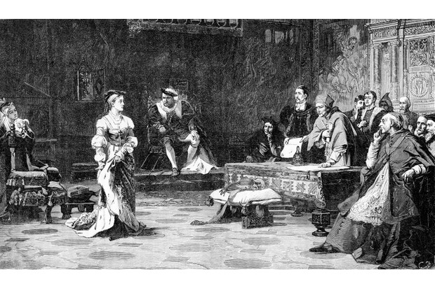 A depiction of Catherine of Aragon, first wife of Henry VIII, testifying at the Legatine Court