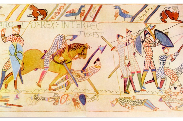 The Death of Harold at the Battle of Hastings, 1066. Detail from the Bayeux Tapestry/ Tapisserie de Bayeux: La telle du conquest (a 0.5-by-68.38-metre (1.6 by 224.3 ft) long embroidered cloth depicting the events leading up to the Norman conquest of England as well as the events of the invasion itself, annotated in Latin. It is exhibited in a special museum in Bayeux, Normandy called Musée de la Tapisserie de Bayeux.) (Photo by Culture Club/Getty Images) *** Local Caption ***