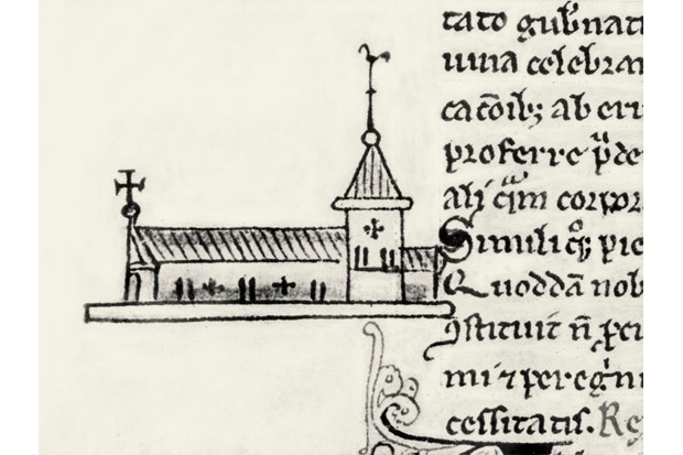 St John's Hospital, Oxford. Drawing from a 15th-century manuscript. (Photo by Culture Club/Getty Images)