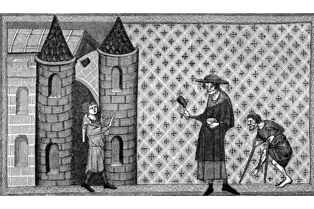 Leper House - from a miniature in Vincent de Beauvais's 'Miroir Historical', a 13th-century manuscript. (Photo by Culture Club/Getty Images)