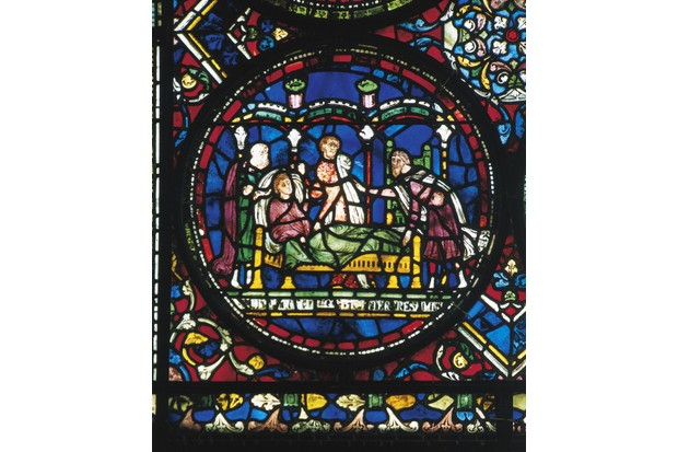 Doctors in consultation around a sick person (14th century), glass, Canterbury Cathedral (Unesco World Heritage List, 1988). (Photo by DeAgostini/Getty Images)
