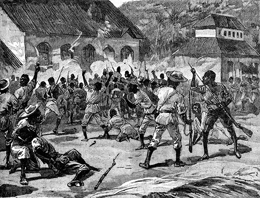 Attack on the Court-House, St. Thomas-in-the-East, Jamaica,  during Morant Bay rebellion. 11 October 1865. Rebellion led by Paul Bogle following imprisonment of man for trespassing on a long-abandoned plantation.  (Photo by Culture Club/Getty Images)