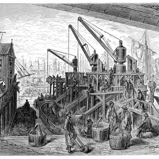 Vintage engraving showing a scene from 19th Century London England. Showing the steam cranes at Limehouse Dock.