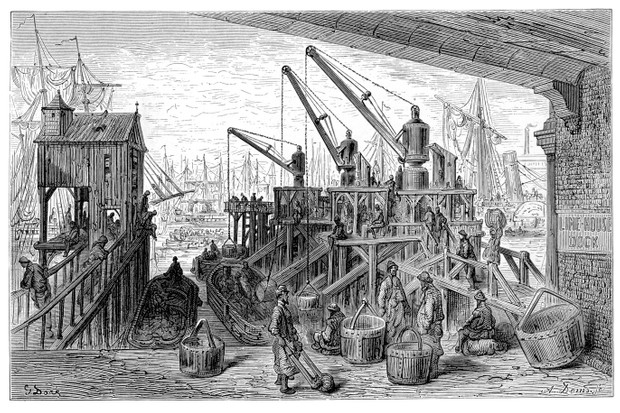 Vintage engraving showing the steam cranes at Limehouse Dock in East London. (iStock/Getty Images)