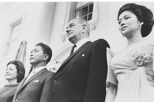 The Philippines' first couple pictured with Lyndon Johnson and his wife, 'Lady Bird', during a visit to the US in September 1966. (Getty Images)