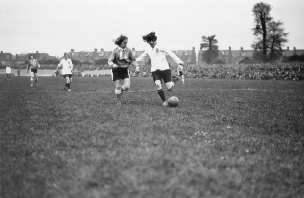 Dick Kerr's ladies' football team (in white) from Preston take on the French Ladies International team at Herne Hill, London. (Photo by MacGregor/Topical Press/Hulton Archive/Getty Images)