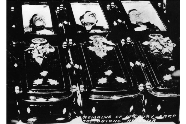 The bodies of, from left to right, Tom McLaury (or McLowry), Frank McLaury (or McLowry) and Billy Clanton. These three members of the 'Clanton Gang' were shot by Wyatt Earp, his brothers Virgil and Morgan and Doc Holiday during the 'Gunfight at OK Corral'  on 26th October 1881, Tombstone,  Arizona. Original Artwork: Arizona Historical Society Library   (Photo by Hulton Archive/Getty Images)