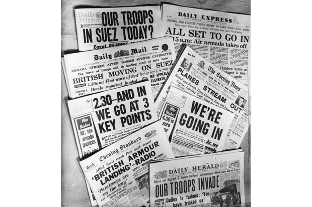 Headlines in the British press about the Suez Crisis, 31 October 1956. (Photo by G Godden/Getty Images)
