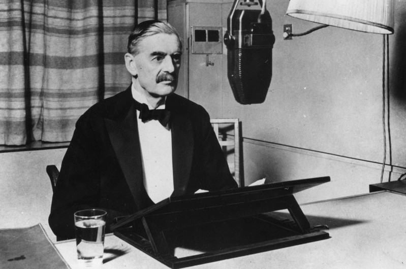 Prime Minister Neville Chamberlain announces the outbreak of the Second World War in a BBC broadcast, 1939. (Fox Photos/Getty Images)