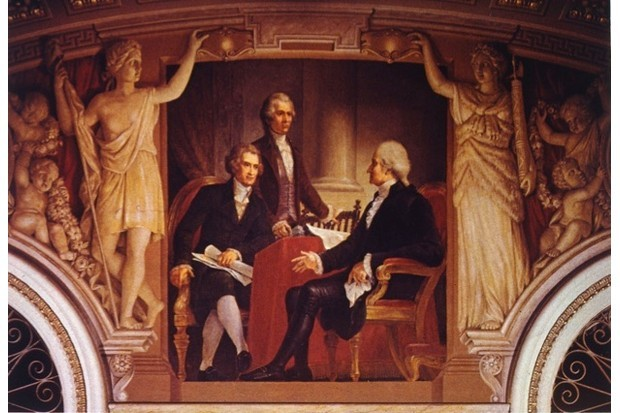 A painting by Constantino Brumidi, depicting US president George Washington in consultation with his secretary of state Thomas Jefferson and secretary of the treasury Alexander Hamilton. (Photo by MPI/Getty Images)