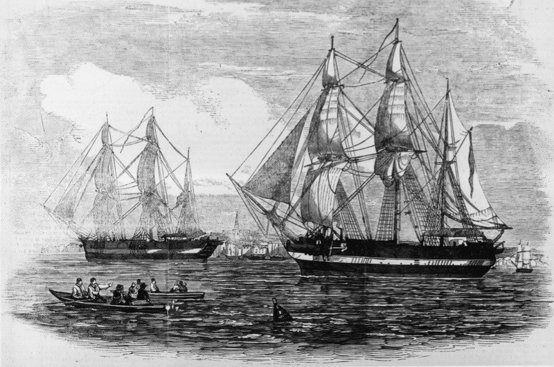The ships HMS Erebus and HMS Terror used in Sir John Franklin's ill-fated attempt to discover the Northwest passage. Illustrated London News, May 1845. (Photo by Illustrated London News/Getty Images)