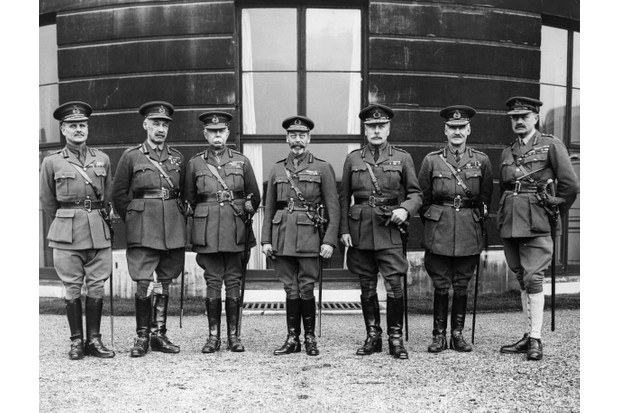 A view of George V with his army commanders at Buckingham Palace, celebrating the Silver Jubilee. From left to right are Australian Field Marshal Sir William Birdwood, General Henry Rawlinson, Field Marshal Hubert Plumer, the king, Sir Douglas Haig, Lord North and Lord King. (Photo by Hulton Archive/Getty Images)