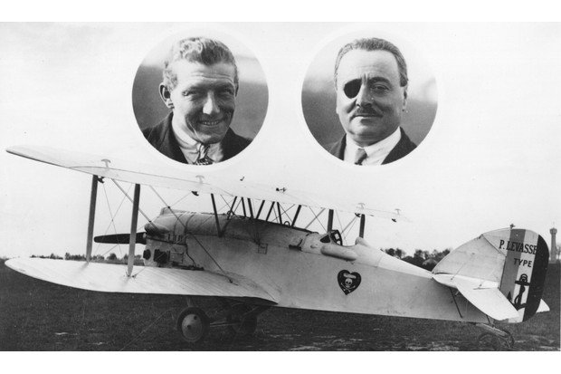 A postcard featuring the French aviators Nungesser and Coli