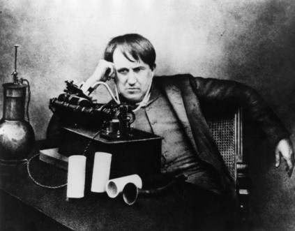 Thomas Edison listening through a primitive headphone in 1871. (Photo by Hulton Archive/Getty Images)