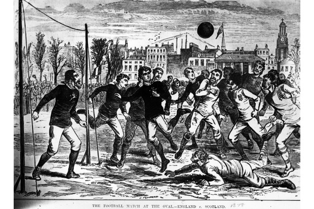 Did the Americans coin the term 'soccer'? It was the English, making it from 'association football', says James Evans. Here, players compete for the ball during an England versus Scotland football match in 1878. (Photo by Hulton Archive/Getty Images)
