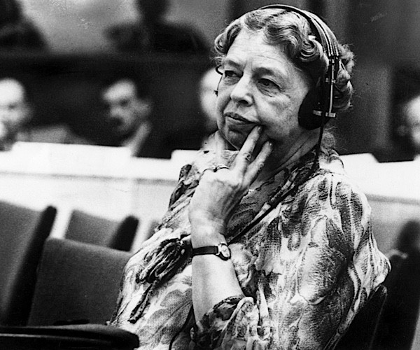 Eleanor Roosevelt listening through headphones during a UN conference in New York. (Keystone/Getty Images)