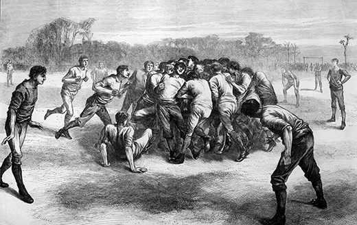 25th November 1871:  A scene from an early rugby union game at Kensington Oval. Original Publication: The Graphic - A Match At Football: The Last Scrimmage - pub. 1871 Original Artwork: Engraved by E Buckman  (Photo by Rischgitz/Getty Images)