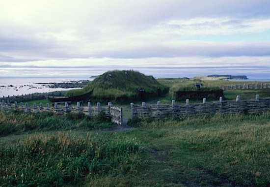 Replicas Of Norse sod houses in L'anse Aux Meadows, Newfoundland. (Photo by Wolfgang Kaehler/LightRocket via Getty Images)