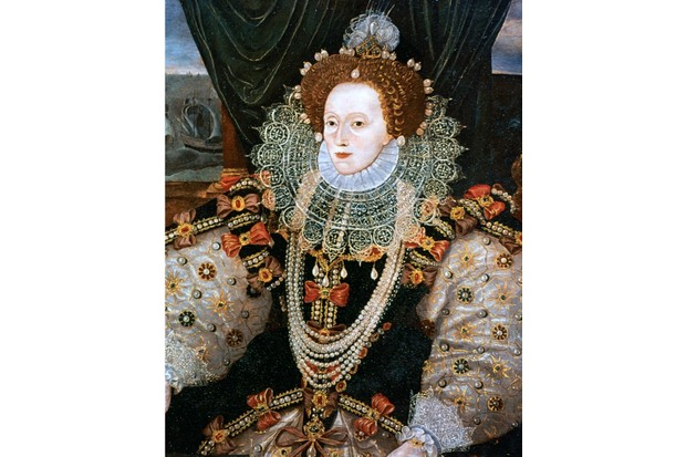 Elizabeth I. Version of the Armada portrait attributed to George Gower, from the National Portrait Gallery. (Photo by Ann Ronan Pictures/Print Collector/Getty Images)
