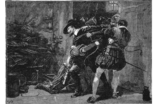 A 19th century wood engraving depicting the arrest of Guy Fawkes in the cellars of parliament, 1605. (Ann Ronan Pictures/Print Collector/Getty Images)