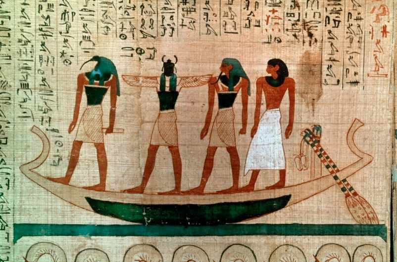 Four figures in a boat, including the ibis-headed god Thoth and the scarab-headed god Khepri