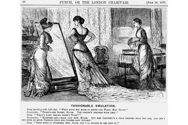 In this cartoon from 1877, 'Punch' takes one of the journal's regular digs at the world of ladies' fashion with a look at the spirit of competition between two young women. (Photo by The Cartoon Collector/Print Collector/Getty Images)