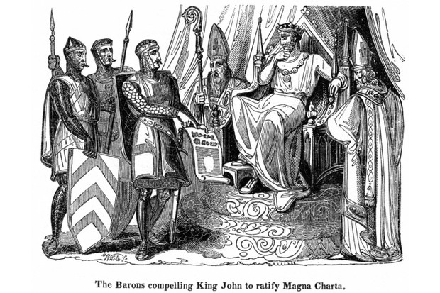 King John sits on a throne while the Barons ask him to ratify Magna Carta.