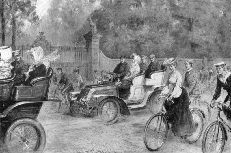 An illustration of motors and cycles in Kensington High Street, opposite Holland House, London, from the Illustrated London News, 1903. (Photo by The Print Collector/Print Collector/Getty Images)