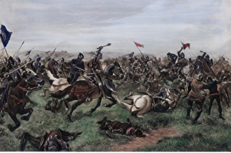 'Battle of Agincourt', 25 October 1415. Hand-coloured later. (Photo by The Print Collector/Print Collector/Getty Images)