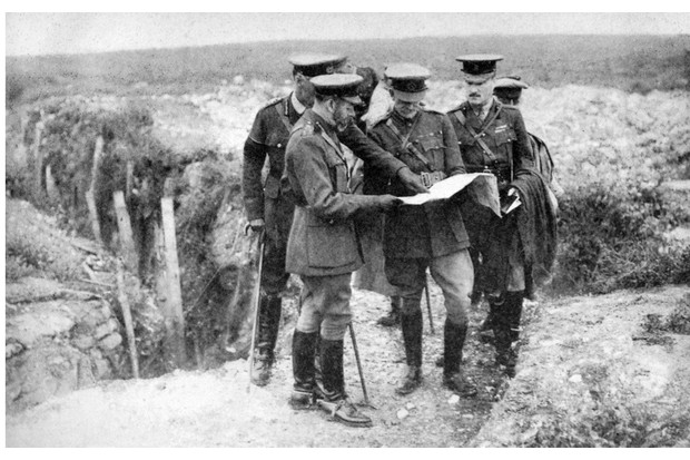 King George V with General Sir Henry Rawlinson and General Congreve at St George's Hill, near Fricourt, 10 August 1916. From 'His Majesty the King 1910-1935' introduction by H W Wilson (Associated Newspapers Ltd, London, 1936). (Photo by The Print Collector/Print Collector/Getty Images)
