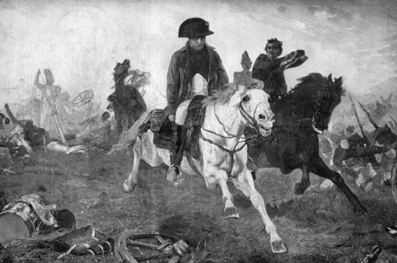 Napoleon Bonaparte at the end of the battle of Waterloo, 18th June 1815. Napoleon (1769-1821) French soldier and emperor, fleeing from the battlefield of Waterloo after his defeat by the British under Wellington and the Prussians commanded by Blucher. Waterloo marked the end of the French First Empire. Napoleon was exiled to St Helena, where he died in 1821. A print from Le Patriote Illustre. (Photo by The Print Collector/Print Collector/Getty Images)