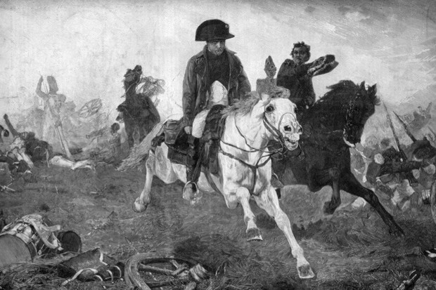 A portrait of Napoleon Bonaparte fleeing from the battlefield of Waterloo (18 June 1815) after his defeat by the British under Wellington and the Prussians commanded by Blucher. A print from 'Le Patriote Illustre'. (Photo by The Print Collector/Print Collector/Getty Images)