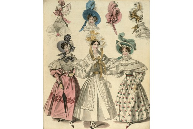 Victorian women had to conform to the latest fashion as illustrated in a host of magazines. Illustration shows women modelling fashionable hats and gowns of the time, c1830. (Photo by Museum of London/Heritage Images/Getty Images)