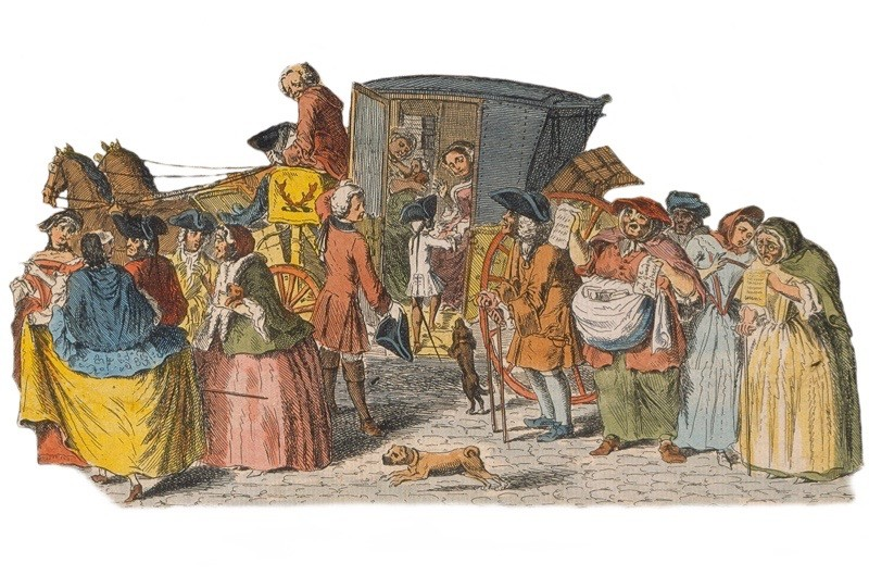 Londoners flee the city during the earthquake panic of April 1750. (Getty Images)