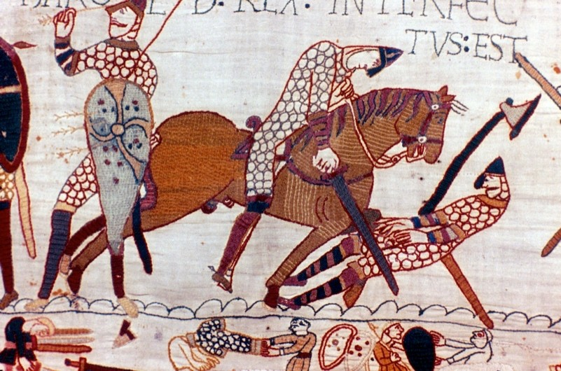 A scene depicted on the 11th-century Bayeux Tapestry.