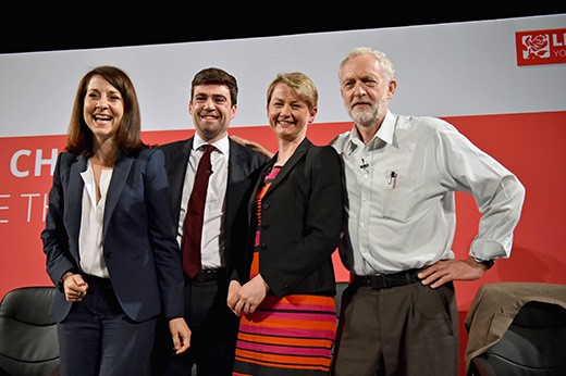 The four candidates for the Labour leadership taking part in a hustings in The Old Fruitmarket, Candleriggs, in July 2015 in Glasgow, Scotland. From left: Liz Kendall; Andy Burnham; Yvette Cooper and Jeremy Corbyn. (Photo by Jeff J Mitchell/Getty Images)