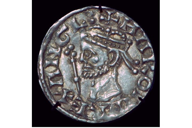 Silver penny of Harold II (1022-1066), minted 1066, showing the obverse side. (Photo by CM Dixon/Print Collector/Getty Images)