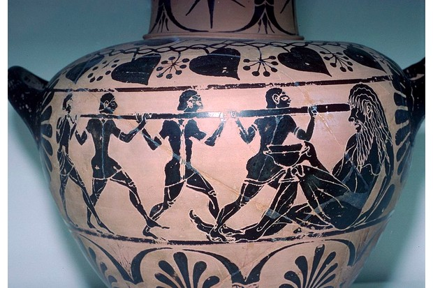 Polyphemus is having his eye put out by Odysseus and his companions. This vase is from an Etruscan tomb. (Photo by CM Dixon/Print Collector/Getty Images)