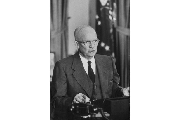 President, Dwight D. Eisenhower, giving speech on TV addressing the Suez crisis.  (Photo by Paul Schutzer/The LIFE Picture Collection/Getty Images)